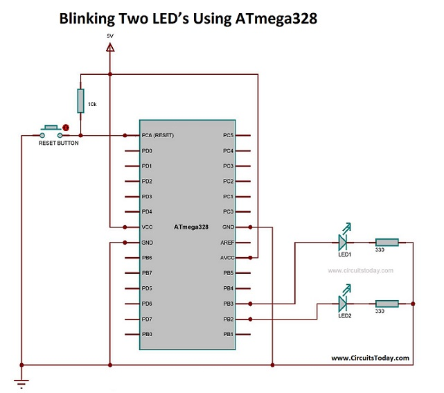 Blinking Two LED's Using ATmega328