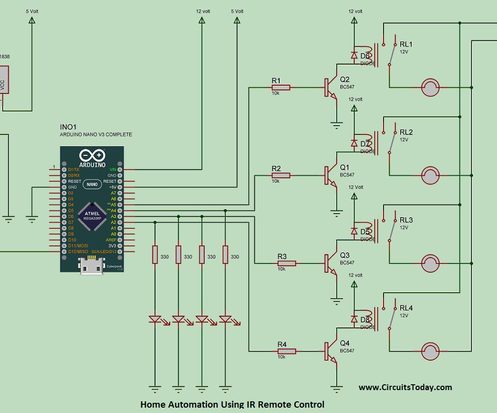 Electronic Circuits And Diagrams Projects Design An Led Circuit Simulation Home Automation Using Ir Remote Control