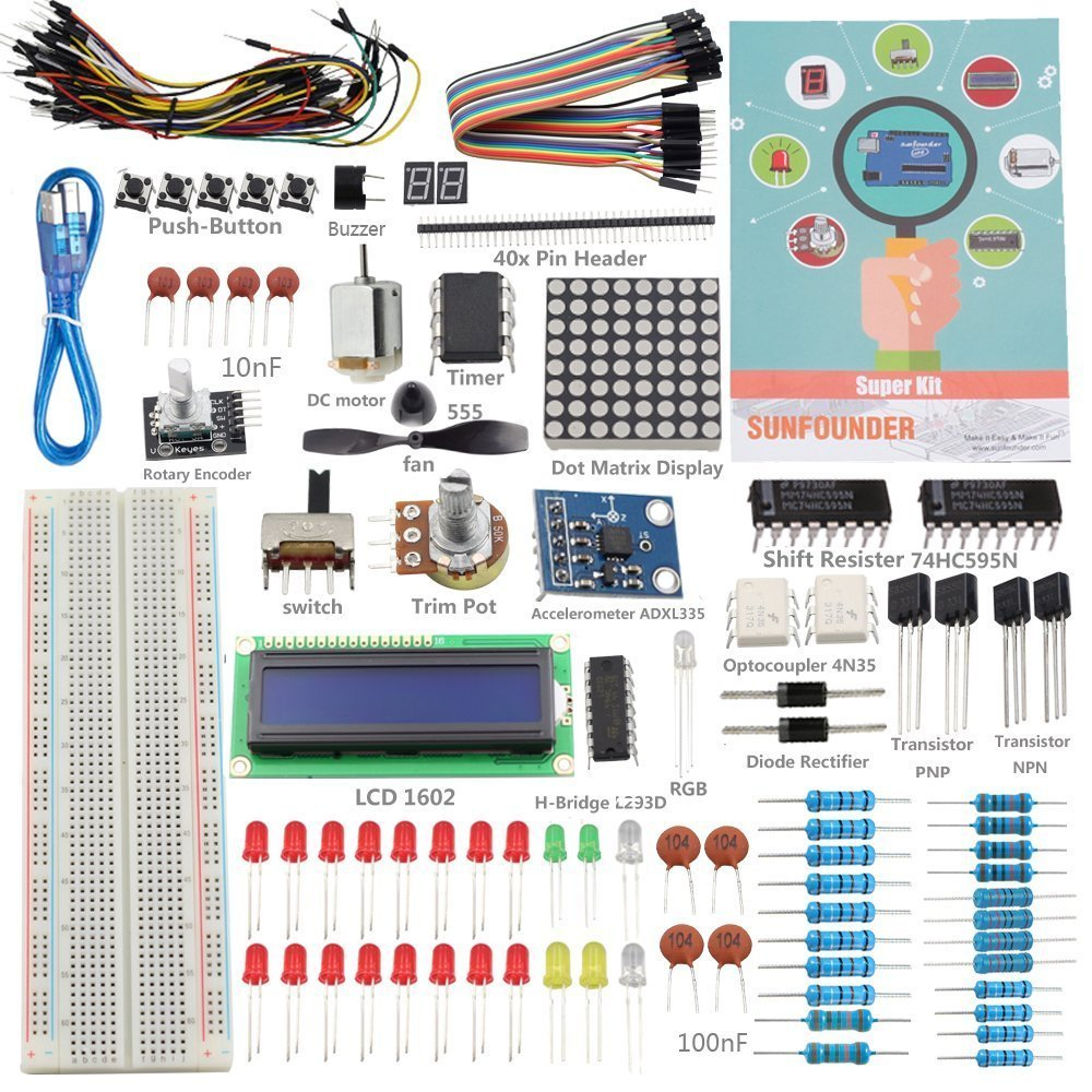 8 Best Arduino Starter Kit For Beginner Uno R3 Components Book Instructions Make Hacking Easy Hacks Mods Circuitry Sunfounder Project Super Mega And Nano
